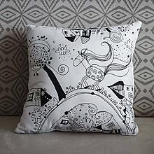 Úžitkový textil -  O Jednorožcovi, ktorý sa rád hral -ručne kreslený vankúš - 11804812_