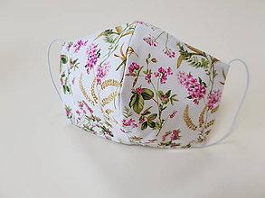 Rúška - Dizajnové bavlnené rúško - Flowers  (Rozvinuta zahrada) - 11805502_