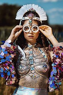 Ozdoby do vlasov - Tyrkysová mušličková koruna z kolekcie 𝕾𝖍𝖆𝖒𝖆𝖓 𝕳𝖆𝖑𝖑𝖔𝖜𝖊𝖊𝖓 - 11802717_
