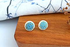 Náušnice - Porcelánové náušnice Veselé modré - 11805813_