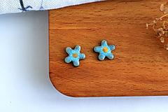 Náušnice - Porcelánové náušnice Tmavé tyrkysové kvety - 11805858_
