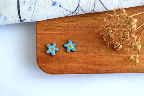 Porcelánové náušnice Tmavé tyrkysové kvety