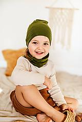 Detské čiapky - 100% merino ultratenký termo set khaki (veľ.M-resp.dospelý (bez vyšitia mena,či iniciálky) - 11807389_