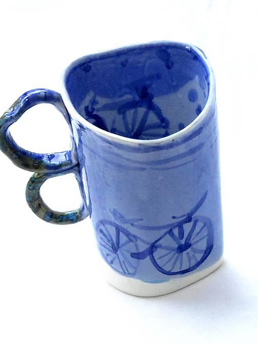 šálka modrá XXL bicykel