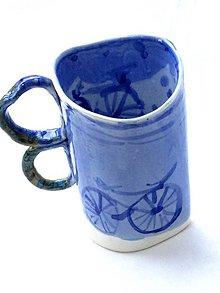 Nádoby - šálka modrá XXL bicykel - 11803731_