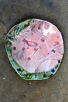 Nádoby - misa tanier ružovo zelený  - 11803825_