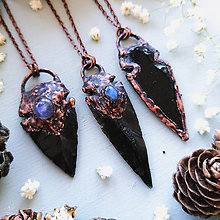Náhrdelníky - Obsidian Arrowheads - 11802961_