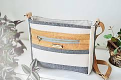 Kabelky - Luna stripes (linen cork) - 11808660_