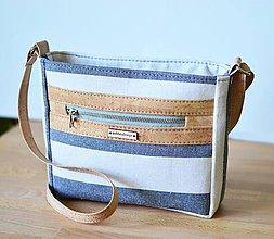 Kabelky - Luna stripes (linen cork) - 11808661_