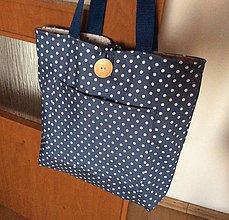 Nákupné tašky - obojstranná taška modré bodky - 11810980_