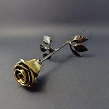 Dekorácie - Ruža kovaná zlatá - 11812062_