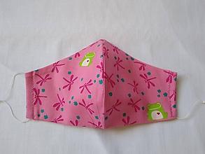 Rúška - Dizajnové rúško letné tvarované ružová vážka - 11813564_