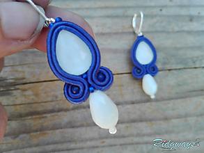 Náušnice - Blue/White...soutache - 11813309_