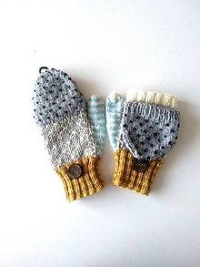 Rukavice - Rukavičky šedé s belasou a horčicovou - 11813196_