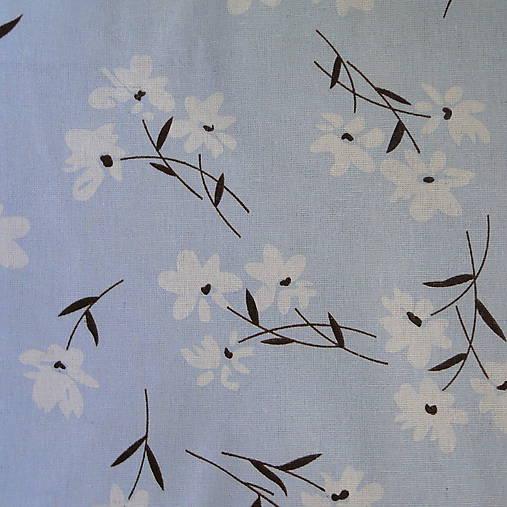 Bavlnená látka-1cm (modrá svetlá-kvety)