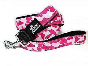 Pre zvieratká - Popruhové vodítko Pink Camouflage - 11815302_