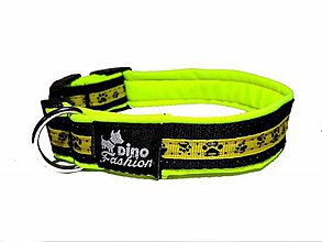 Pre zvieratká - Obojok Tlapky yellow softshell - 11815334_