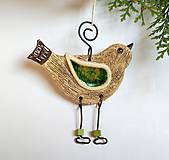 Dekorácie - Keramický vtáčik na zavesenie - 11815024_