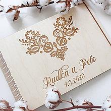 Papiernictvo - Fotoalbum folk svadobný / kniha hostí folk - 11813399_