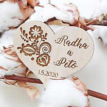 Darčeky pre svadobčanov - Svadobné magnetky folk - 11815287_