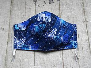 Rúška - Bavlnené rúška... dámske (Modré motýle) - 11817074_