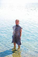 Tuniky - Plstená šedá tunika z Merino vlny - 11818830_