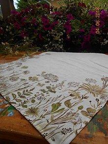 """Úžitkový textil - Ľanový maľovaný obrus """" Lúčne trávy """" (biely ľan + lúčne trávy /45x 110/) - 11816392_"""