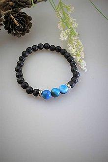 Náramky - náramok lávový kameň a achát modrý - 11818652_