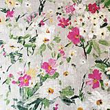 Textil - 100 % predpraný vyzrážaný ľan Maľované kvety - 11816357_
