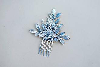 Ozdoby do vlasov - Strieborný kvetinový hrebienok - 11817485_