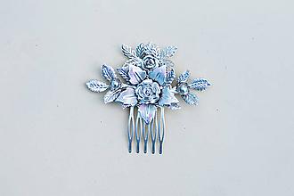 Ozdoby do vlasov - Strieborný kvetinový hrebienok - 11817496_