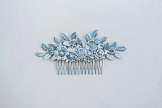 Ozdoby do vlasov - Strieborný kvetinový hrebienok - 11817598_