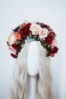 Ozdoby do vlasov - Štýlová červená boho čelenka z ruží - 11820250_
