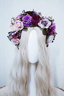 Ozdoby do vlasov - Štýlová fialová boho čelenka z ruží - 11820272_