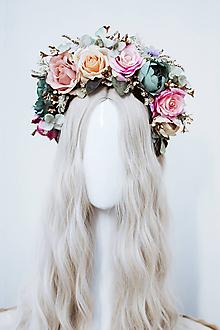 Ozdoby do vlasov - Štýlová ružová boho čelenka z ruží - 11820288_