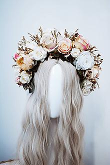 Ozdoby do vlasov - Štýlová béžová boho čelenka z ruží - 11820313_