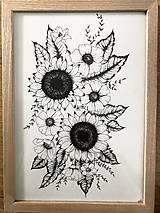 Kresby - Letné kvietky - čiernobiela kresba - 11818898_