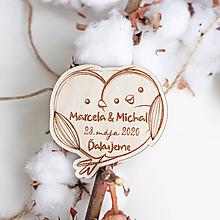 Darčeky pre svadobčanov - Svadobné magnetky Vtáčiky - 11817404_