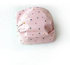 Rúška - Bavlnené rúško jemne ružové bodkované - 11816613_