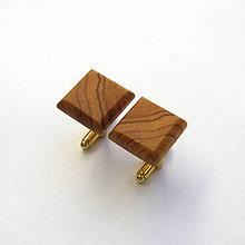 Šperky - Drevené manžetové gombíky - olivovníkové štvoruholníky - 11817064_