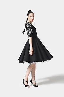 Šaty - Šaty Joy Midi čierne vyšívané - 11821449_