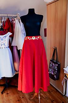 Sukne - Ľanová sukňa s výšivkou - 11820956_