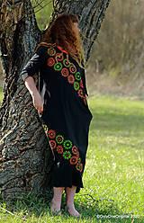 Šaty - Dámske šaty maxi, oversize, šité, maľované, etno ISKIERKY - 11821754_