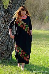 Šaty - Dámske šaty maxi, oversize, šité, maľované, etno ISKIERKY - 11821756_