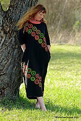 Šaty - Dámske šaty maxi, oversize, šité, maľované, etno ISKIERKY - 11821807_