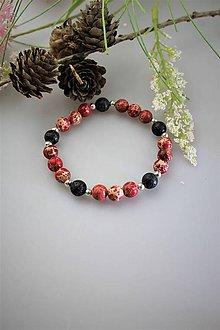 Náramky - lávový kameň a jaspis červený náramok - 11821486_