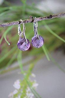 Náušnice - fluorit fialkový brúsený náušnice v striebre - 11821543_