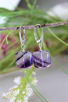 Náušnice - fialový fluorit náušnice v striebre - 11821575_