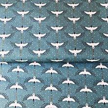 Textil - žeriavy, 100 % bavlna Francúzsko, šírka 150 cm - 11820929_