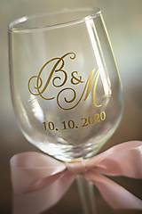 Papiernictvo - Inicálky - vyrezávaná nálepka na svadobný pohár - 11824994_